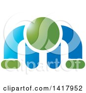 Clipart Of A Green And Blue Man Doing A Push Up Royalty Free Vector Illustration by Lal Perera