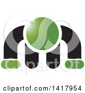 Clipart Of A Green And Black Man Doing A Push Up Royalty Free Vector Illustration