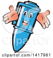 Clipart Of A Happy Blue Pen Character Royalty Free Vector Illustration by Lal Perera
