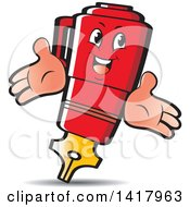 Clipart Of A Red Fountain Pen Character Royalty Free Vector Illustration