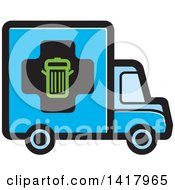 Clipart Of A Blue Trash Truck Royalty Free Vector Illustration by Lal Perera