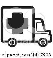 Clipart Of A Black And White Medical Truck Royalty Free Vector Illustration by Lal Perera
