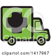 Clipart Of A Green Medical Truck Royalty Free Vector Illustration by Lal Perera