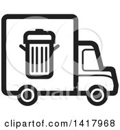 Clipart Of A Black And White Trash Truck Royalty Free Vector Illustration by Lal Perera
