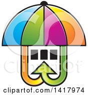 Clipart Of A Colorful Umbrella Covering Windows With Arrows Royalty Free Vector Illustration
