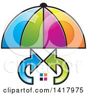 Clipart Of A Colorful Umbrella Covering A House With Arrows Royalty Free Vector Illustration by Lal Perera