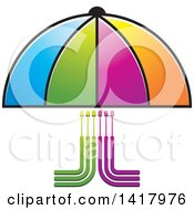 Clipart Of A Colorful Umbrella Covering Circuits Or Cables Royalty Free Vector Illustration