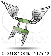 Clipart Of A Flying Winged Green Chair Royalty Free Vector Illustration by Lal Perera