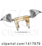Clipart Of A Winged Flying Table Royalty Free Vector Illustration by Lal Perera