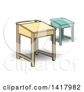 Clipart Of School Desks Royalty Free Vector Illustration by Lal Perera