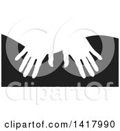 Clipart Of White Silhouetted Masseuse Hands Over Black Royalty Free Vector Illustration