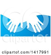 Clipart Of White Silhouetted Masseuse Hands Over Blue Royalty Free Vector Illustration