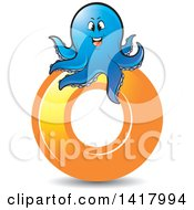 Clipart Of A Blue Octopus On An Orange Letter O Royalty Free Vector Illustration by Lal Perera