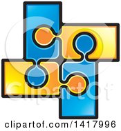 Clipart Of A Section Of Connected Orange And Blue Jigsaw Puzzle Pieces Royalty Free Vector Illustration by Lal Perera