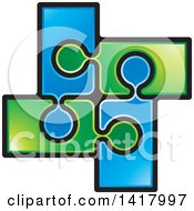 Poster, Art Print Of Section Of Connected Green And Blue Jigsaw Puzzle Pieces