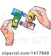 Poster, Art Print Of Hands Holding Connected Jigsaw Puzzle Pieces
