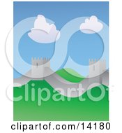 The Great Wall Of China On A Sunny Day Clipart Illustration