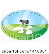 Clipart Of A Silhouetted Cow In A Hilly Pasture In An Oval Royalty Free Vector Illustration