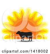 Clipart Of A Silhouetted Cow Against A Sunset Royalty Free Vector Illustration