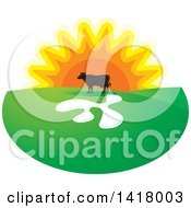 Clipart Of A Silhouetted Cow In A Pasture Against A Sunset Royalty Free Vector Illustration