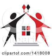 Clipart Of A House Framed With Black And Red People Royalty Free Vector Illustration by Lal Perera