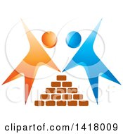 Clipart Of Blue And Orange People Building A Brick House Royalty Free Vector Illustration by Lal Perera