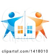 Clipart Of A House Framed With Blue And Orange People Royalty Free Vector Illustration by Lal Perera