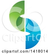 Clipart Of A Blue And Green Abstract Letter S Design Royalty Free Vector Illustration by Lal Perera