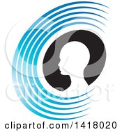 Clipart Of A Silhouetted Head In A Black Oval Within An Abstract Blue Letter C Royalty Free Vector Illustration by Lal Perera