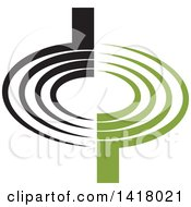 Clipart Of A Black And Green Abstract Letter D And P Design Royalty Free Vector Illustration