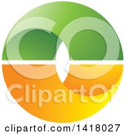 Clipart Of A Green And Orange Letter O Royalty Free Vector Illustration