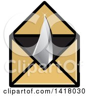 Clipart Of A Knife Point Through An Envelope Royalty Free Vector Illustration by Lal Perera