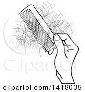 Clipart Of A Black And White Hand Holding A Comb With Hair Royalty Free Vector Illustration by Lal Perera