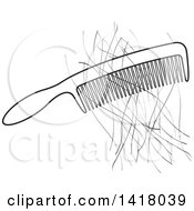 Clipart Of A Comb With Hair Royalty Free Vector Illustration by Lal Perera