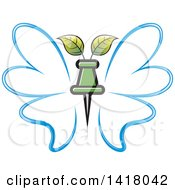 Clipart Of A Blue Butterfly With A Pin And Leaves Royalty Free Vector Illustration by Lal Perera