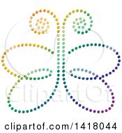 Clipart Of A Colorful Dot Butterfly Royalty Free Vector Illustration by Lal Perera