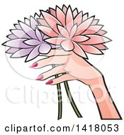 Clipart Of A Womans Hand Holding Flowers Royalty Free Vector Illustration