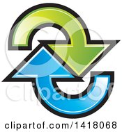 Clipart Of Blue And Green Arrows Royalty Free Vector Illustration by Lal Perera