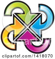 Clipart Of A Colorful Circle Of Arrows Pointing In The Center Royalty Free Vector Illustration by Lal Perera