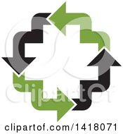 Clipart Of A Cross Formed Of Black And Green Arrows Royalty Free Vector Illustration by Lal Perera