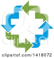 Clipart Of A Cross Formed Of Blue And Green Arrows Royalty Free Vector Illustration by Lal Perera
