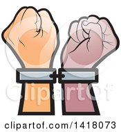 Clipart Of Cuffed Fisted Hands Royalty Free Vector Illustration by Lal Perera
