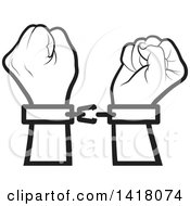 Clipart Of A Lineart Cuffed And Fisted Hands Breaking Apart Royalty Free Vector Illustration