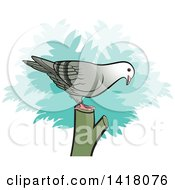 Clipart Of A Pigeon On A Stump Royalty Free Vector Illustration