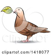 Clipart Of A Pigeon With A Leaf Royalty Free Vector Illustration