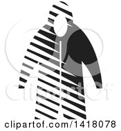 Clipart Of A Black And White Raincoat Royalty Free Vector Illustration