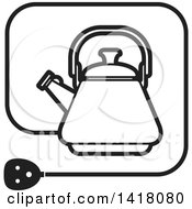 Clipart Of A Lineart Kettle Icon Royalty Free Vector Illustration by Lal Perera