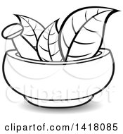 Clipart Of A Lineart Mortar And Pestle With Leaves Royalty Free Vector Illustration