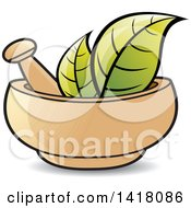 Clipart Of A Mortar And Pestle With Leaves Royalty Free Vector Illustration by Lal Perera