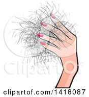 Clipart Of A Hand Holding Hair Royalty Free Vector Illustration by Lal Perera
